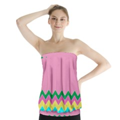 Easter Chevron Pattern Stripes Strapless Top by Amaryn4rt