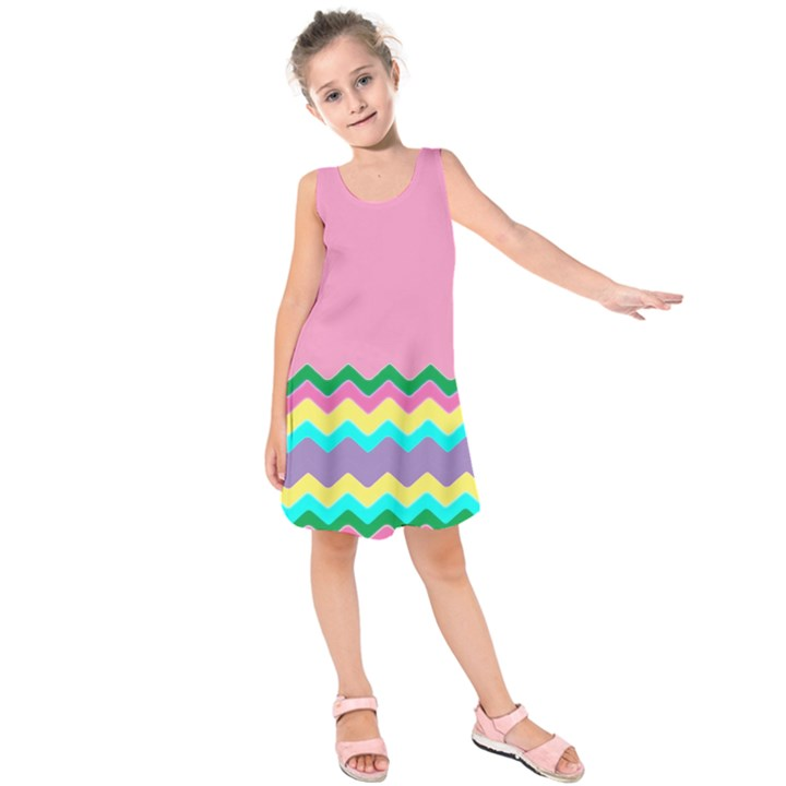 Easter Chevron Pattern Stripes Kids  Sleeveless Dress