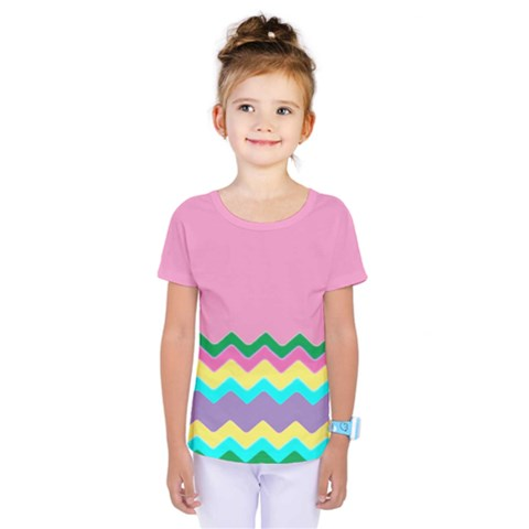 Easter Chevron Pattern Stripes Kids  One Piece Tee by Amaryn4rt