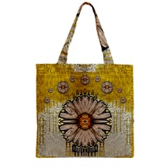Power To The Big Flower Zipper Grocery Tote Bag by pepitasart