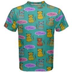 Meow Cat Pattern Men s Cotton Tee