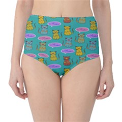 Meow Cat Pattern High Waist Bikini Bottoms