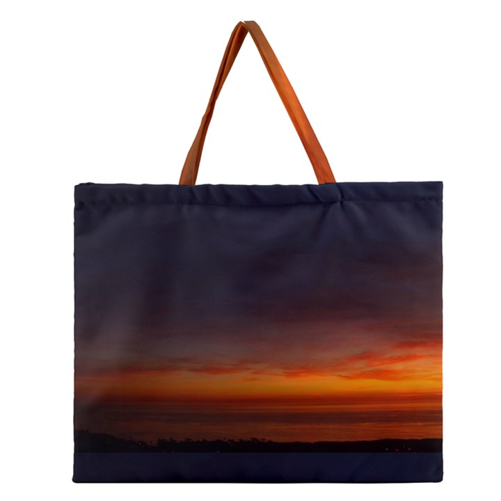 Dark Sunset Zipper Large Tote Bag