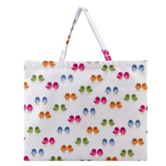 Pattern Birds Cute Design Nature Zipper Large Tote Bag by Amaryn4rt