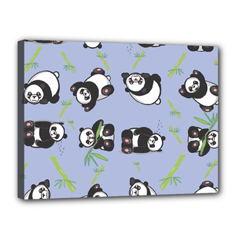 Panda Tile Cute Pattern Blue Canvas 16  X 12  by Amaryn4rt