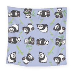 Panda Tile Cute Pattern Blue Square Tapestry (large)