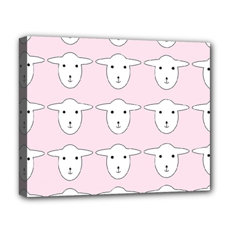 Sheep Wallpaper Pattern Pink Deluxe Canvas 20  X 16