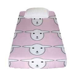 Sheep Wallpaper Pattern Pink Fitted Sheet (single Size) by Amaryn4rt