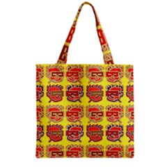 Funny Faces Grocery Tote Bag by Amaryn4rt