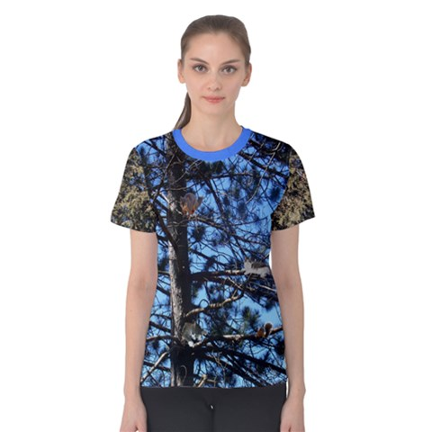 Trees Against A Blue Sky With Critters Women s Cotton Tee by SusanFranzblau