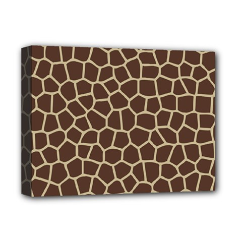 Leather Giraffe Skin Animals Brown Deluxe Canvas 16  X 12   by Alisyart