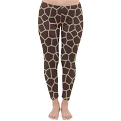 Leather Giraffe Skin Animals Brown Classic Winter Leggings