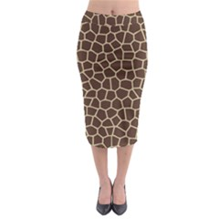 Leather Giraffe Skin Animals Brown Midi Pencil Skirt