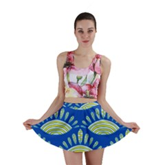 Sea Shells Blue Yellow Mini Skirt