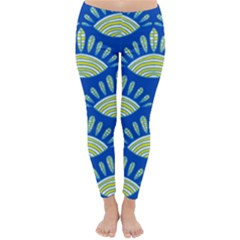 Sea Shells Blue Yellow Classic Winter Leggings