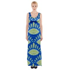Sea Shells Blue Yellow Maxi Thigh Split Dress