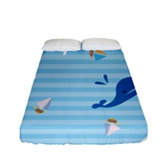 Whaling Ship Blue Sea Beach Animals Fitted Sheet (full/ Double Size)