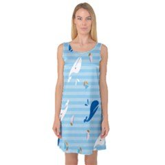 Whaling Ship Blue Sea Beach Animals Sleeveless Satin Nightdress