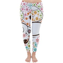Flower Floral Rose Sunflower Bird Back Color Orange Purple Yellow Red Classic Winter Leggings