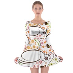 Flower Floral Rose Sunflower Bird Back Color Orange Purple Yellow Red Long Sleeve Skater Dress