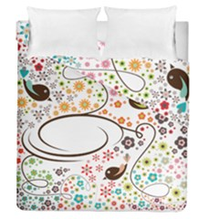 Flower Floral Rose Sunflower Bird Back Color Orange Purple Yellow Red Duvet Cover Double Side (queen Size)
