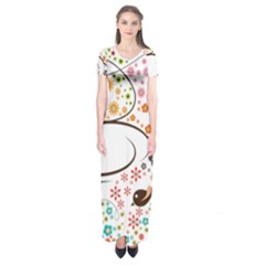 Flower Floral Rose Sunflower Bird Back Color Orange Purple Yellow Red Short Sleeve Maxi Dress