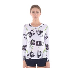 Panda Tile Cute Pattern Women s Long Sleeve Tee