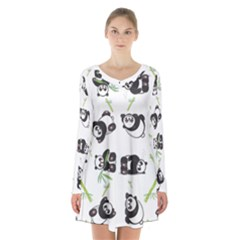 Panda Tile Cute Pattern Long Sleeve Velvet V Neck Dress