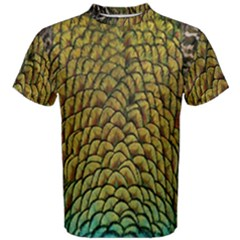 Colorful Iridescent Feather Bird Color Peacock Men s Cotton Tee