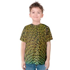 Colorful Iridescent Feather Bird Color Peacock Kids  Cotton Tee
