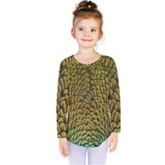 Colorful Iridescent Feather Bird Color Peacock Kids  Long Sleeve Tee
