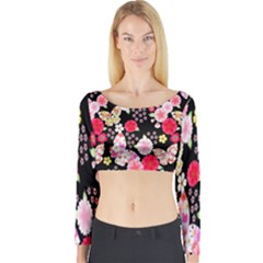 Flower Arrangements Season Rose Butterfly Floral Pink Red Yellow Long Sleeve Crop Top