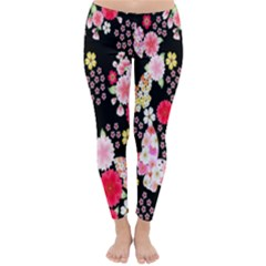 Flower Arrangements Season Rose Butterfly Floral Pink Red Yellow Classic Winter Leggings