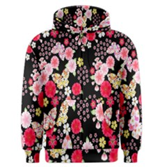 Flower Arrangements Season Rose Butterfly Floral Pink Red Yellow Men s Zipper Hoodie