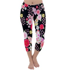 Flower Arrangements Season Rose Butterfly Floral Pink Red Yellow Capri Winter Leggings