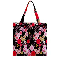 Flower Arrangements Season Rose Butterfly Floral Pink Red Yellow Zipper Grocery Tote Bag