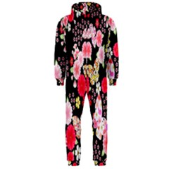 Flower Arrangements Season Rose Butterfly Floral Pink Red Yellow Hooded Jumpsuit (men)
