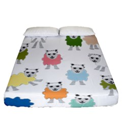 Sheep Cartoon Colorful Fitted Sheet (queen Size) by Amaryn4rt