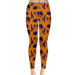 Witch Hat Pumpkin Candy Helloween Blue Orange Classic Winter Leggings