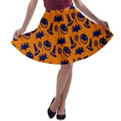 Witch Hat Pumpkin Candy Helloween Blue Orange A Line Skater Skirt