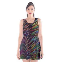 Texture Colorful Abstract Pattern Scoop Neck Skater Dress