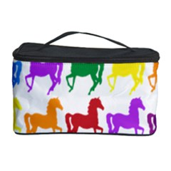 Colorful Horse Background Wallpaper Cosmetic Storage Case by Amaryn4rt