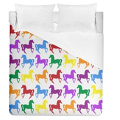 Colorful Horse Background Wallpaper Duvet Cover (queen Size) by Amaryn4rt