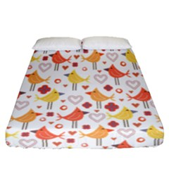 Animal Pattern Happy Birds Seamless Pattern Fitted Sheet (queen Size)
