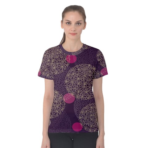 Twig Surface Design Purple Pink Gold Circle Women s Cotton Tee by Alisyart