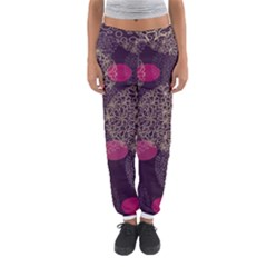 Twig Surface Design Purple Pink Gold Circle Women s Jogger Sweatpants