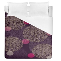 Twig Surface Design Purple Pink Gold Circle Duvet Cover (queen Size) by Alisyart