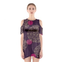 Twig Surface Design Purple Pink Gold Circle Shoulder Cutout One Piece