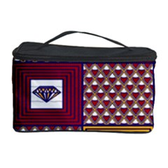 African Fabric Diamon Chevron Yellow Pink Purple Plaid Cosmetic Storage Case