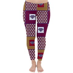 African Fabric Diamon Chevron Yellow Pink Purple Plaid Classic Winter Leggings